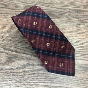 Robert Talbott Maroon & Navy Plaid Wool Tie